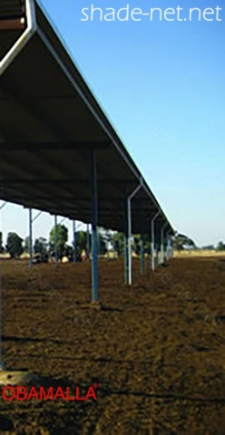 raschel mesh installed on field for protection of animals.